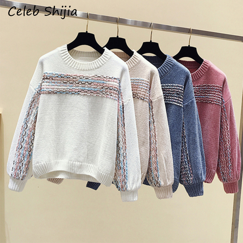Chenille Pullovers Sweater For Woman Loose Lazy O-neck Long Sleeve Velvet Knitted Jumper Sweater Female 2019 Autumn Winter Chic