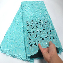 African Double Organza Sequins Lace Fabric 2020 Latest Nigerian Wedding Dress High Quality