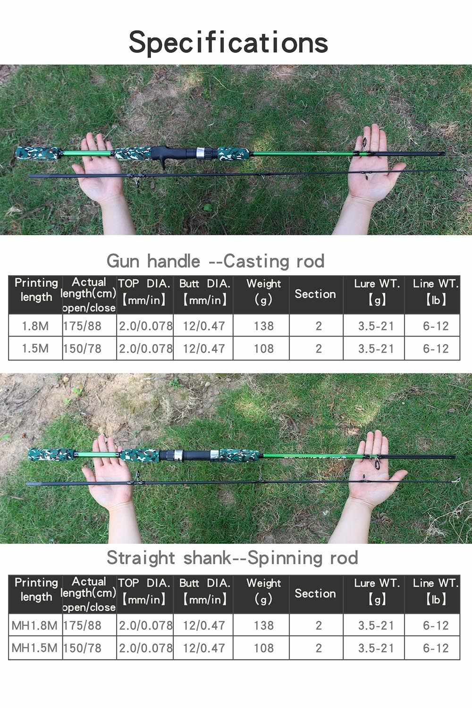 Vissen Lokken hengel Spinning Casting Rod Baitcasting Reel Ultralight Feeder Karper Carbon Fly Visgerei MH Power 3g ~ 21g Lokken