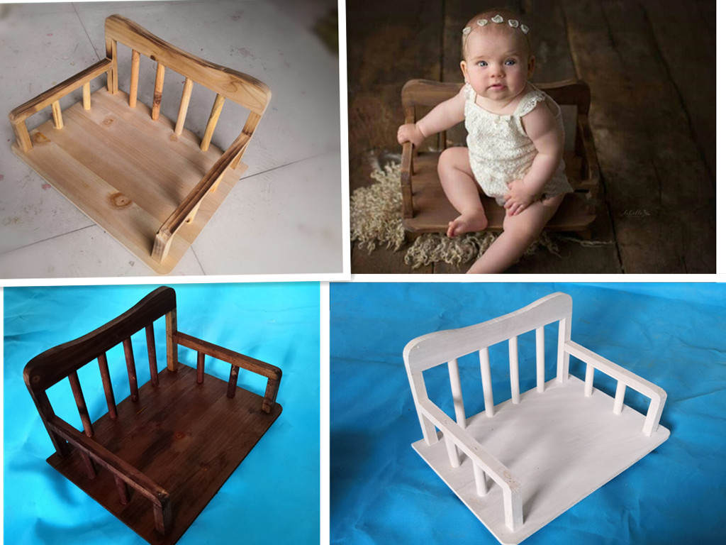 Baby Girl Photo Shoot Accessories Bed Wooden Sofa Crib Vintage Newborn Photo Background Photography Props Memorial Gift For Kid