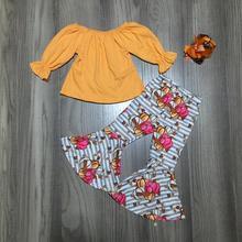 الخريف/الشتاء طفل الفتيات الأطفال الملابس الخردل اليقطين قميص قطني بكم طويل جرس القيعان السراويل وتتسابق الكشكشة بوتيك مباراة القوس