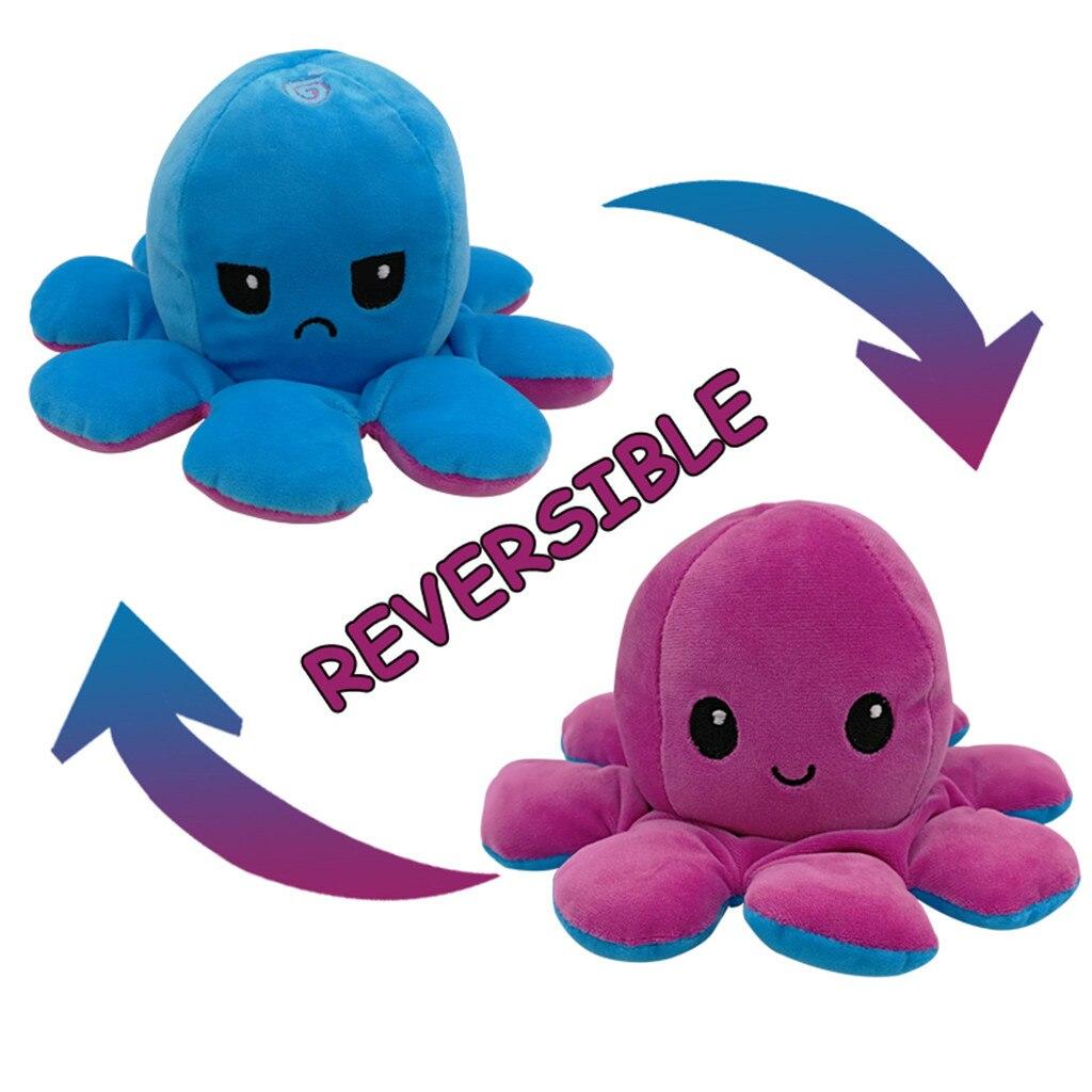 Pieuvre poupée Double face secousse enfants bébé jouets en peluche doux réversible créatif poulpe mignon jouet océan doigt poupée cadeau d'anniversaire #