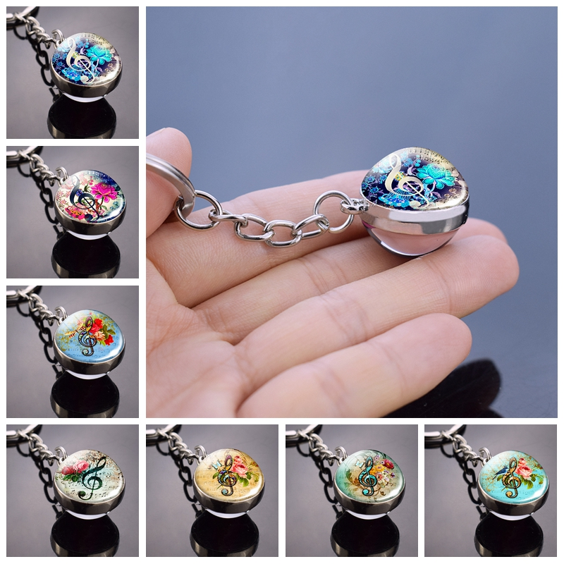 Music Clef Keychain Music Clef Art Picture Glass Ball Keychain Metal Keyring Music Jewelry For Music Lovers Christmas Gifts