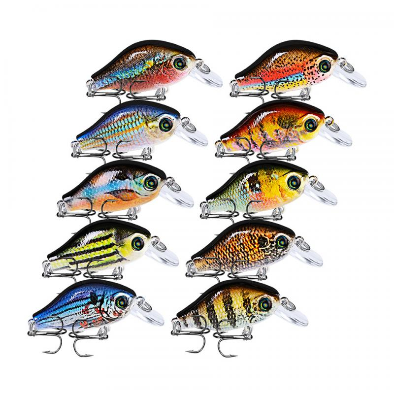 52mm/8.5g Artificial Bait 10 Colors Floating Fishing Lure Plastic Colorful 3D Bionic Luya Plastic Hard Bait
