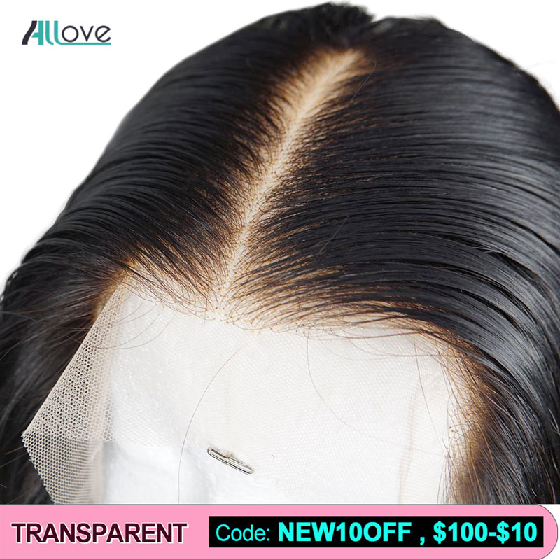 Allove Transparent Lace Wigs Invisible Lace Front Human Hair Wigs Pre Plucked Straight Lace Front Wig 150% Brazilian Hair Wigs