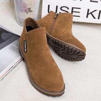 2020 nowych kobiet buty Martin buty jesień zima buty dla kobiety kostki buty zamszowe buty na zamek błyskawiczny buty Casual damskie buty tanie i dobre opinie LAKESHI CN (pochodzenie) Sztuczny zamsz ANKLE zipper Stałe 102201 Dla dorosłych Plac heel Podstawowe Cotton Fabric Okrągły nosek