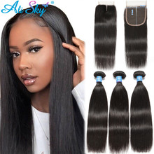 Hair-Bundles Closure Human-Hair-Extensions Straight 5x5 with Brazilian-Hair Weave Remy