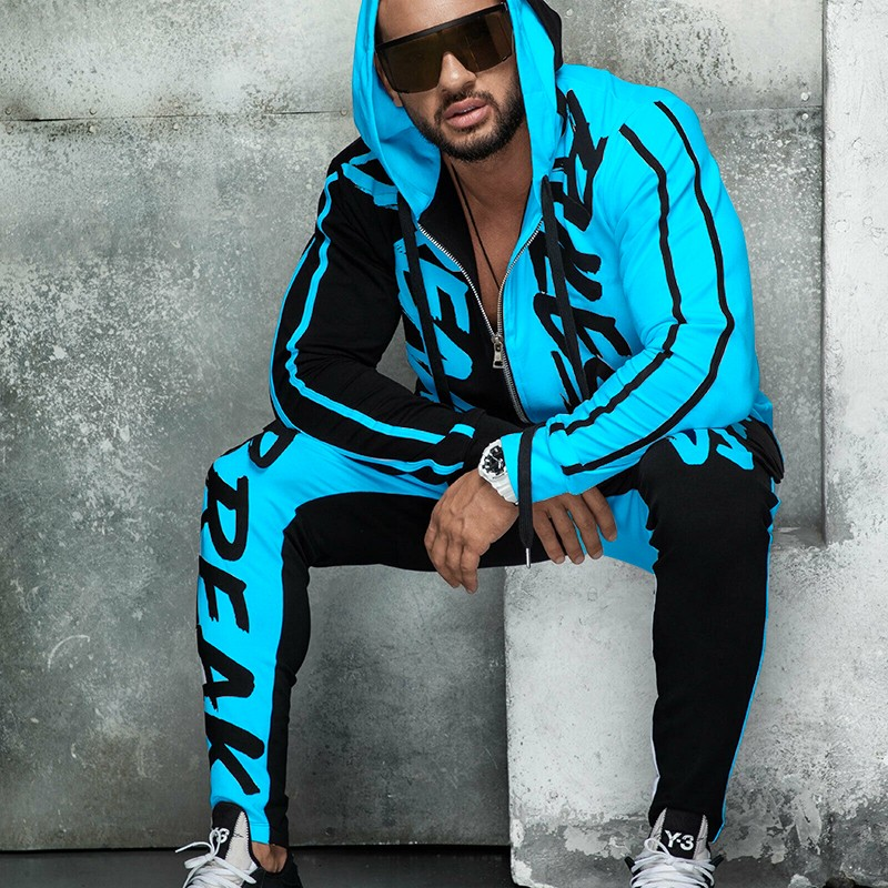 ZOGAA Tracksuit Men's Spring Autumn Casual Men Fitness Sweatsuit Sets Letter Patchwork Hooded Sweatshirt+Sweatpants Sports Suit