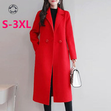 Woxingwosu autumn and winters woolen coat women's solid color windbreaker fashion X long S to 3XL new product plus fertilizer to increase windbreaker british fashion coat woven solid color trend loose women s long coat