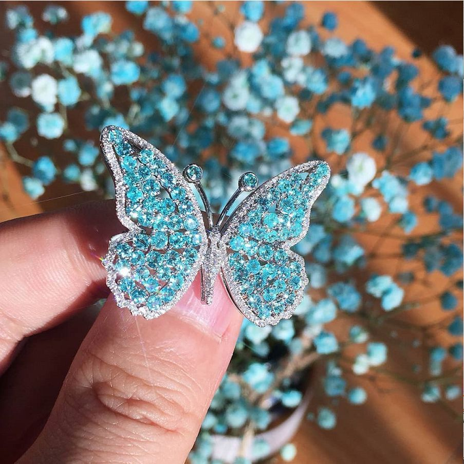 FFLACELL Female Blue Rhinestone Butterfly Wedding & Engagement Jewelry Rings For Women Bridal Promise Wedding Ring