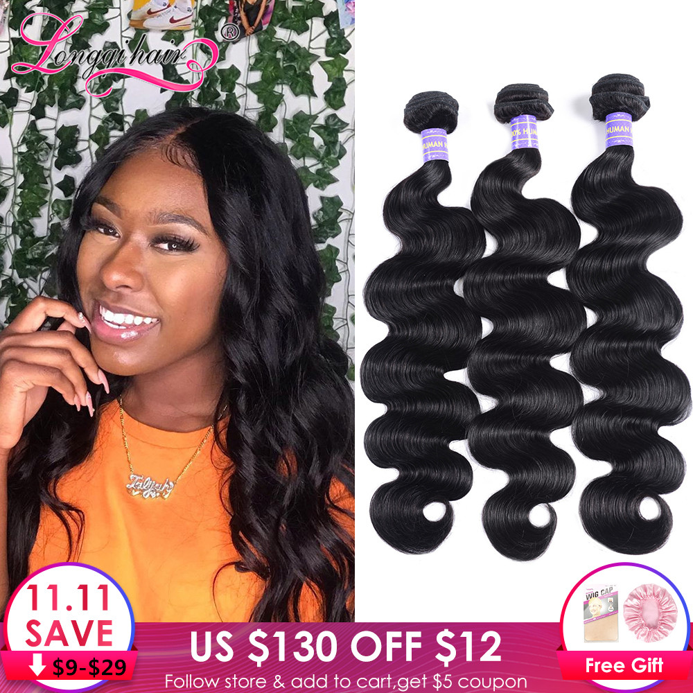 Longqi Hair Extension 1 3 4 Bundles Brazilian Body Wave Bundles Natural Black Remy Human Hair Weave 8 - 26 Inch Bundles Deal