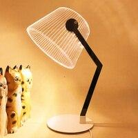 1PC 3D Wirkung Stereo Vision LED Schreibtisch Lampe Holz Unterstützung Acryl Lampenschirm LED Nacht Lampe Wohnzimmer Schlafzimmer Lesen licht JQ