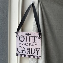 Halloween Store Room Sign Decoration Supplies Out Of Candy Ribbon Hanging Rope Square Convenient Wooden Listing