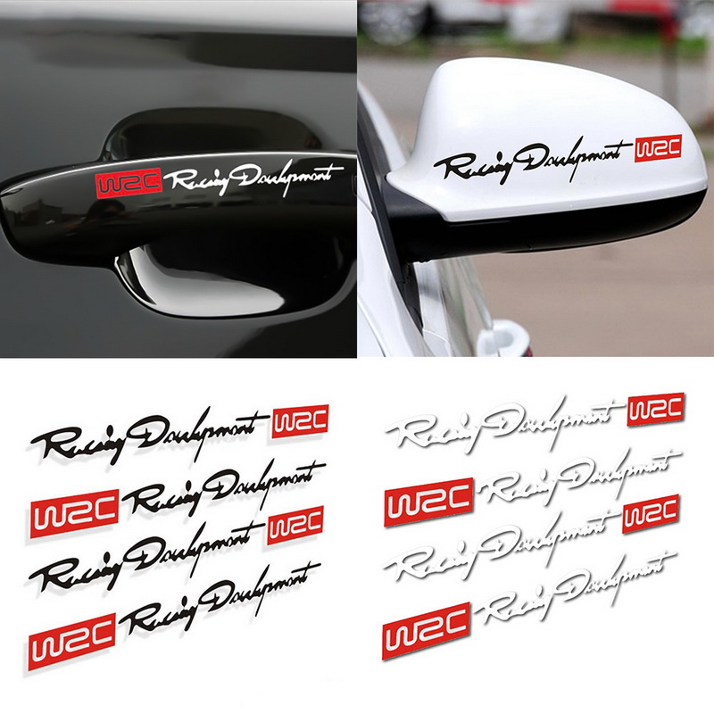 Car Styling Fashion WRC Development Creative Car Door Handle Dual Color Design Stickers Auto Handle Stickers 4Pcs/ Set