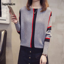 DRL Women Knitted Sweater Casual Style Pullovers Full Batwing Sleeve Ladies Clothes Female Winter Autumn 2019 Striped Tops