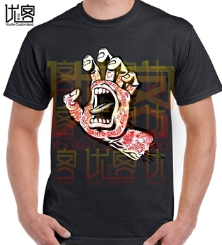 Santa Screaming Tattoo Hand Skateboard Amazing Short Sleeve Unique Funny Tees Cotton Tops T Shirt - discount item  48% OFF Tops & Tees
