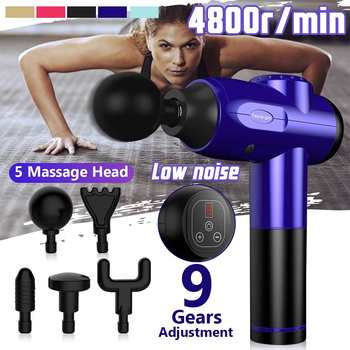 9 Gear Therapy Massage Guns Muscle Massager LED Digital Pain Relax Vibration Massage with 5 Head 2600mAh Battery 4800r/min Speed