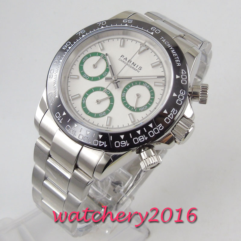 39mm PARNIS white dial sapphire glass solid full Chronograph quartz mens watch