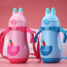 Дети мультфильм питьевой бутылки двухслойные нержавеющая сталь воды Термос Дети Изолированные чашки портативный для дома школы