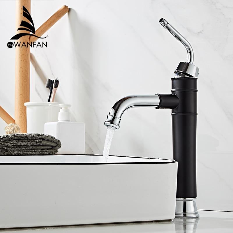 Grifos de lavabo de latón negro con grifo de baño cromado fregaderos grifo mezclador grifo giratorio cubierta montada grifo de lavabo 855805