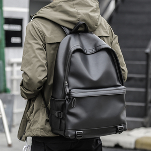 Image 2 - חדש אופנה גברים תרמילי עור שחור תיקי בית ספר לבני נוער מכללת תיק מחשב נייד תרמילי המוצ ילה masculina