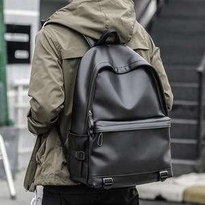 Image 2 - New Fashion Men Leather Backpacks Black School Bags for Teenagers Boys College Book Bag Laptop Backpacks mochila masculina