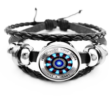 2019 New Hot Round Arc Reactor 3D Effect Glass Convex Mens Bracelet Fashion Jewelry Gift
