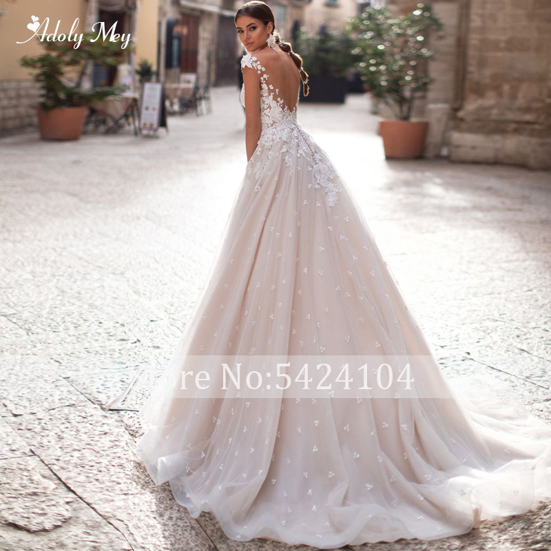 Image 2 - Adoly Mey Romantic Scoop Neck Backless A Line Wedding Dress 2020  Cap Sleeve Appliques Brush Train Princess Bride Gown Plus SizeWedding Dresses   -