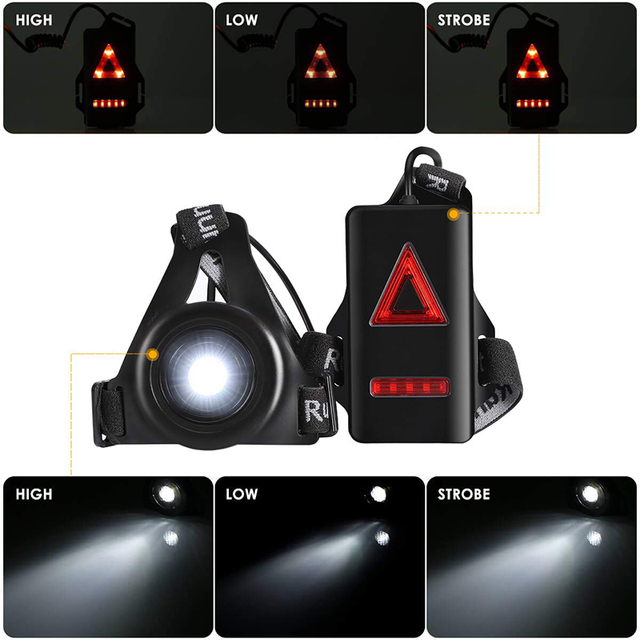Running Lights LED Night Outdoor Camping Flashlight Warning Light USB Charge Chest Lamp Bicycle Cycling Safety Survival Tool 1