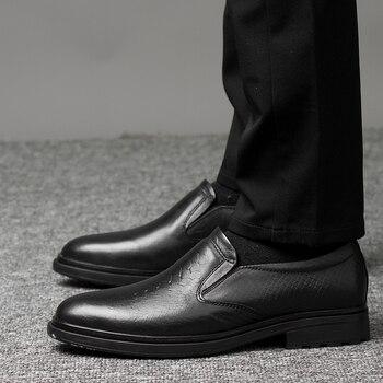 Men Dress Shoes business Gentlemen British style wedding Paty genuine Leather Shoes Men Flats Oxfords Formal Shoes big size 47