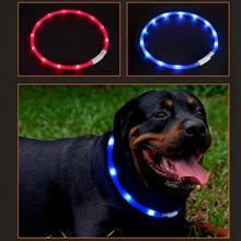 USB Перезаряжаемый безопасный предупреждающий светодиодный ошейник для собаки Регулируемый силиконовый ошейник для изменения размера