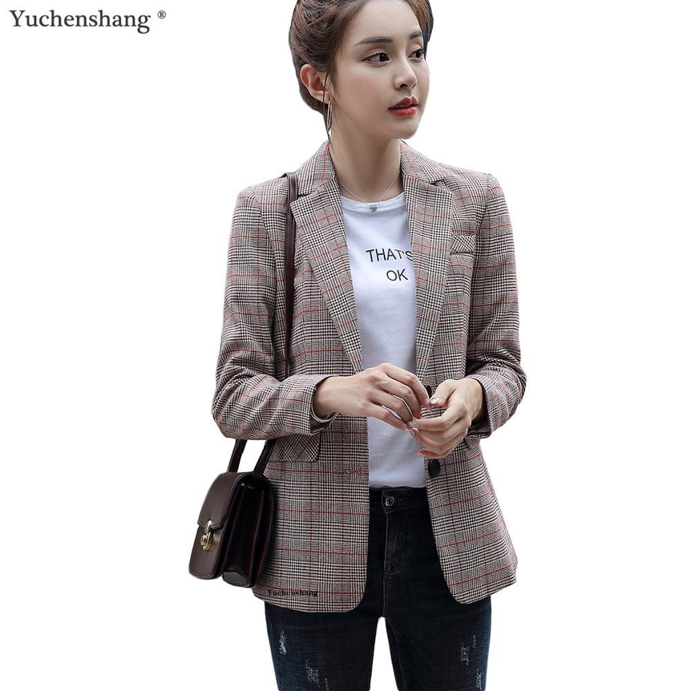 Blazer Women Girl Casual White Gray Brown Plaid Blazer New Fall Winter Single Breasted Long Jackets Coat S-4XL