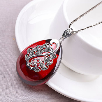 Ms Thai silver pendant S925 pure silver ornaments ethnic wind and pomegranate red sweater sautoir peacock pendant