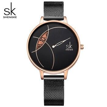 SHENGKE High Quality Women Black Waterproof Ladies Watch Women Quartz Clock Wristwatches Fashion Women s Dropshipping