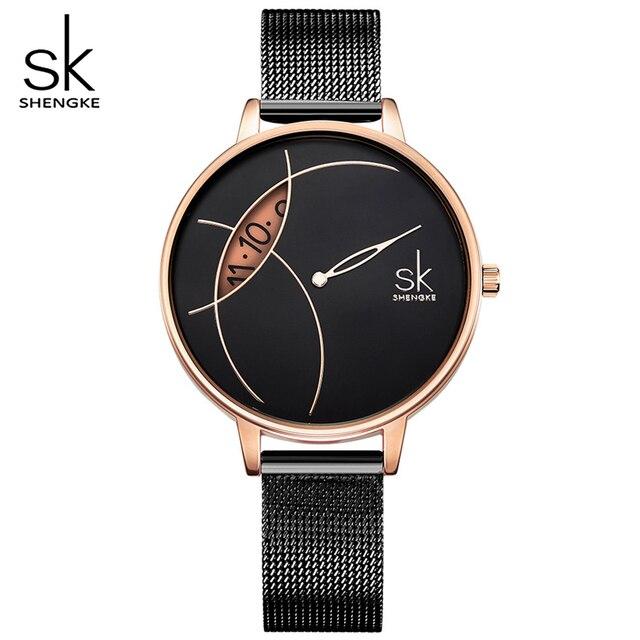 Черные женские кварцевые часы SHENGKE