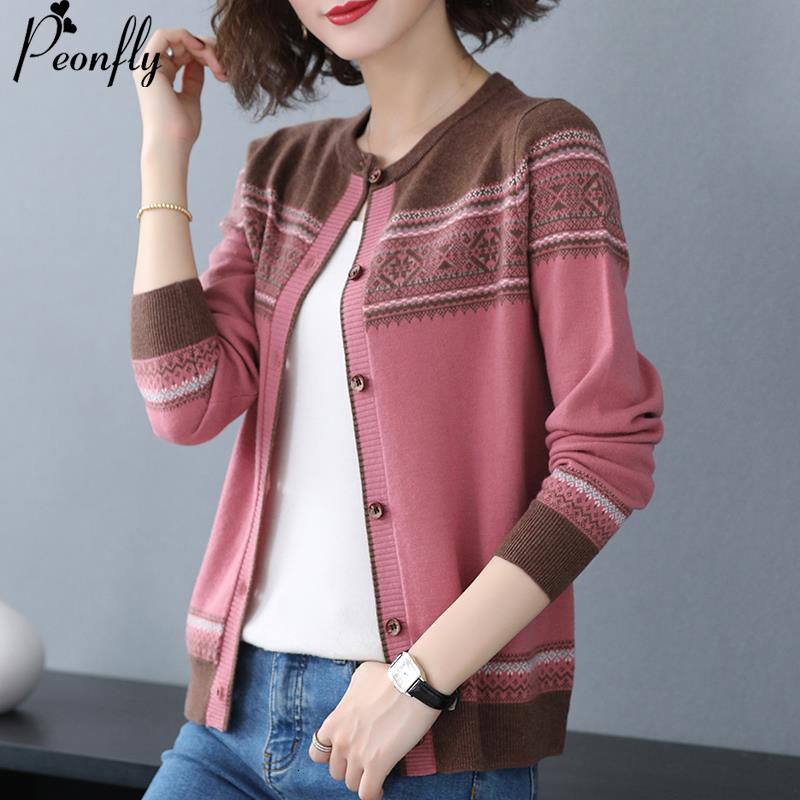 2020Autumn Long Sleeve Cardigan Women Korean Casual Cardigan Female Knitted Sweater Jacket Yellow Pink Burgundy