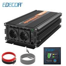 1500 Watt EDECOA Solar Off Grid Converter DC To AC 12v 24v 220v 230v Pure Sine Wave 1500w 3000w Car Power Inverter