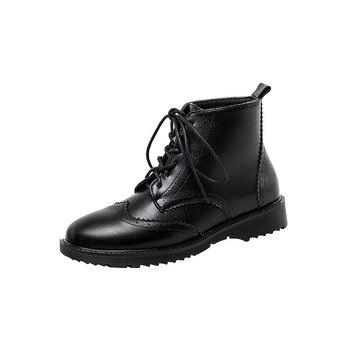 NAKKESHMEN-2020 nuevas botas de máquina de cabeza redonda para mujer, botas de ocio de 3cm a la moda para adultos, botas hasta el tobillo con cordones y costuras combinables
