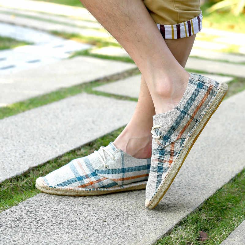 Hanf Einlegesohle Unisex Schuhe Mann Atmungsaktive Leinwand Schuhe Männer Slip auf Licht Handgemachte Schuhe Sommer Müßiggänger Männer Pantuflas Mario Bros