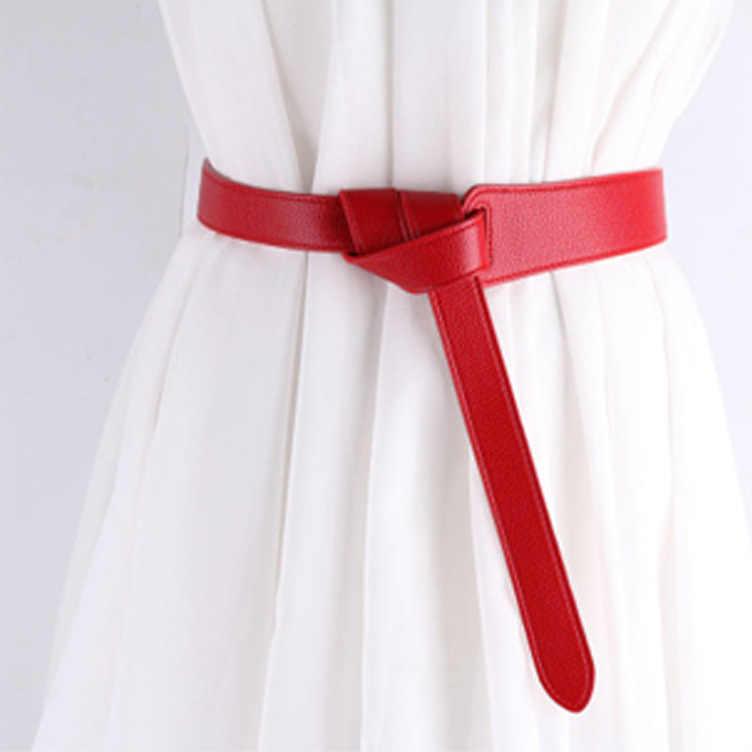 ファッション女性ベルトのための赤弓デザイン薄型 Pu レザージーンズガードルループストラップベルト Bownot ブラウンドレスコートアクセサリー