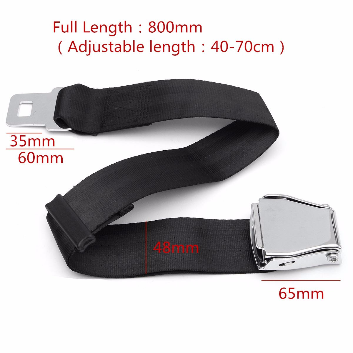 Hot Adjustable Black Airplane Seat Belt Extension Extender Buckle Aircraft Buckle Belt Extended High-strength Polyester Webbing image