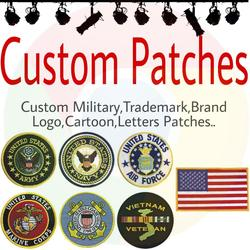 Custom Embroidery Patches Badge Logo Military Personalized Iron on Hook and Loop PVC Woven Printed Patch for Clothing Free Ship