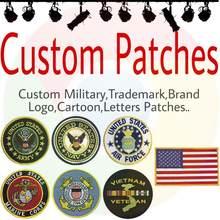 Özel işlemeli yamalar rozeti logosu askeri kişiselleştirilmiş demir cırt cırt PVC dokuma baskılı yama giyim için ücretsiz gemi