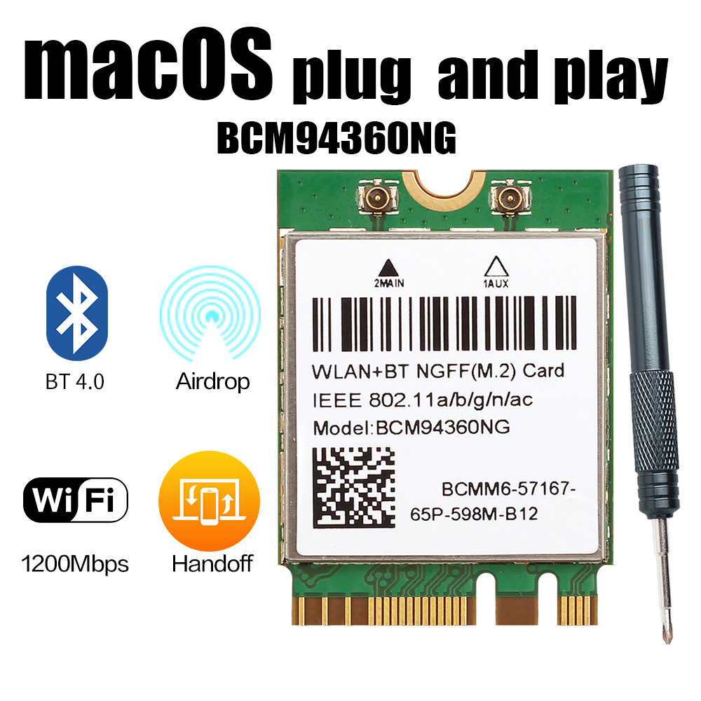 Hackintosh MacOS BCM94360NG M.2 Wifi Card Dual Band 1200Mbps Bluetooth 4.0 802.11ac Wireless Adapter Than DW1560 BCM94352Z
