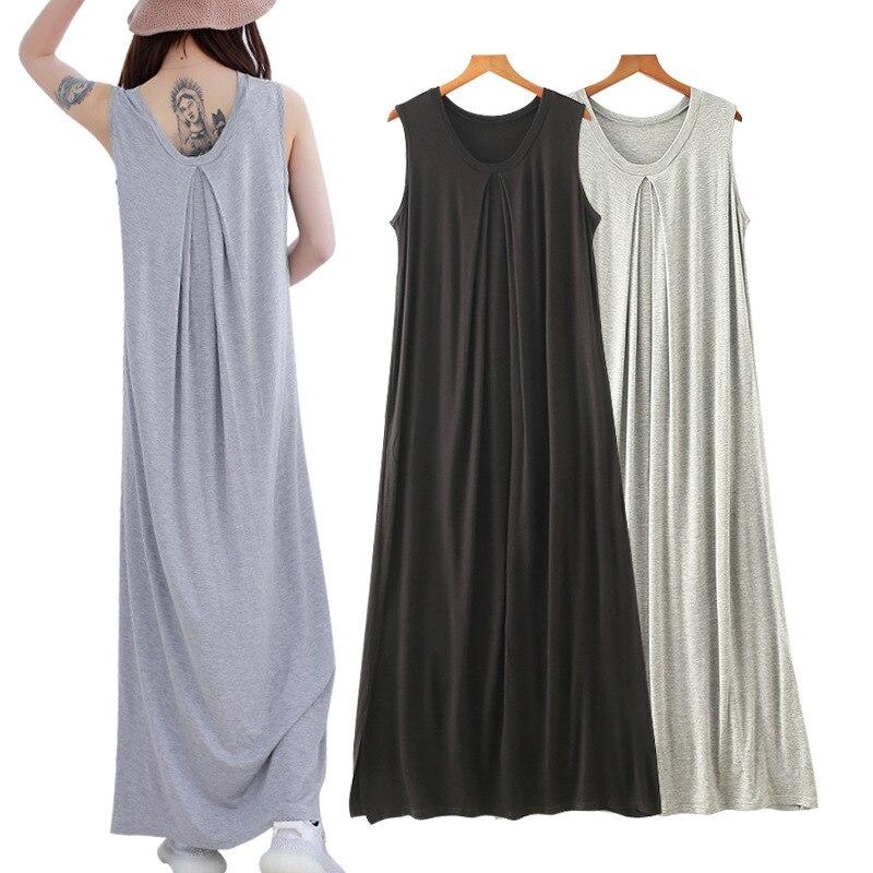 Nightgown Women's Summer Home Wear Korean-style Modal Sleeveless Pajamas Korean-style-Outer Wear Mopping One Piece Dress