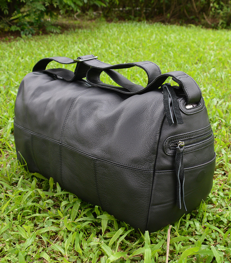 Big Capacity Genuine Leather Travel Bag Men Women Soft Black Foldable Casual Travel Duffel Big Capacity Cow Leather Shoulder Bag