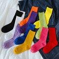 Candy Farbe Rohr Socken, frauen Baumwolle Socken Atmungsaktive Sport-Socken Skateboard Persönlichkeit Einfarbig und Komfort