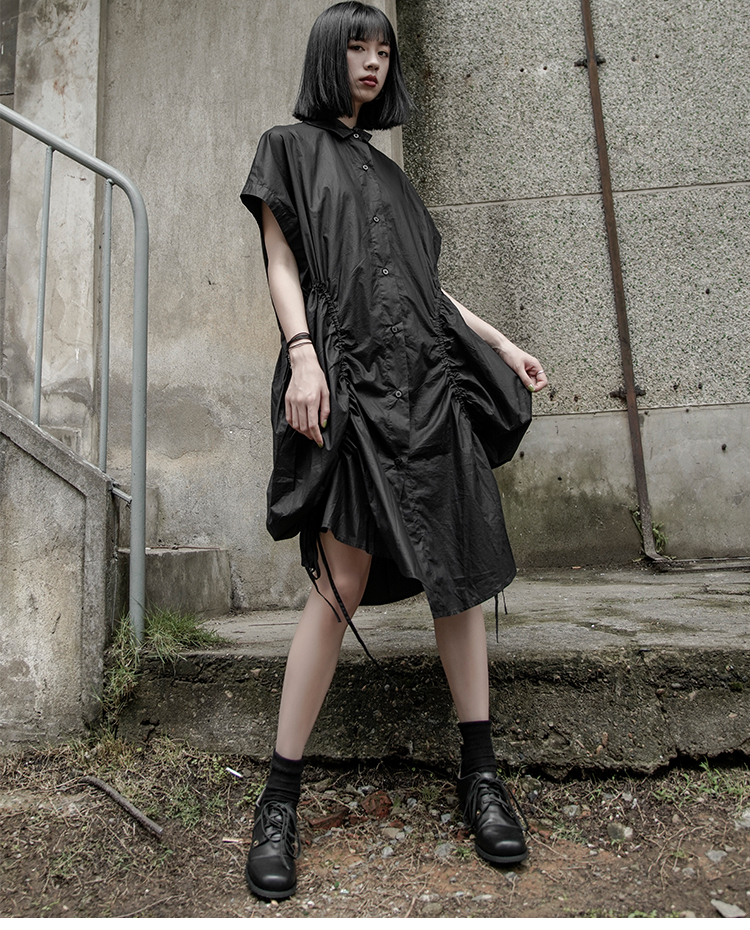 New Fashion Style Black Irregular Fold Split Joint Loose Shirt Dress Fashion Nova Clothing
