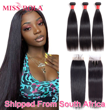 Miss Rola Brazilian Hair Weave Bundles 100% Human Hair Remy Straight Hair Extensions Natural Color 3 Bundles With Lace Closure