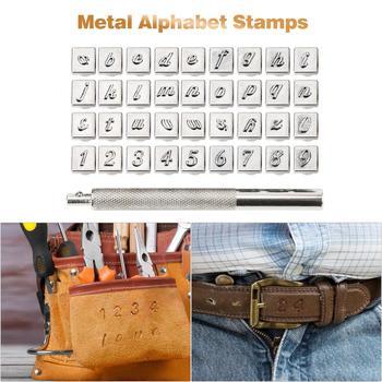 Juego de 36 Uds. De herramientas de acero para manualidades, de cuero, cuero y cuero, con alfabeto, números y perforadoras